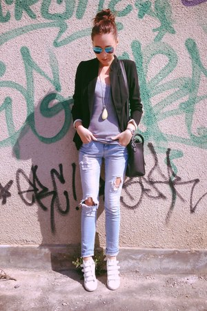 new look jeans - black New Yorker blazer - H&M glasses - H&M t-shirt
