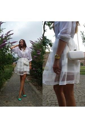white Stradivarius shirt - white H&M shirt - new look accessories