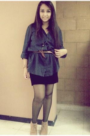 mustard f21 wedges - black tights - Bershka blouse - burnt orange Bershka belt