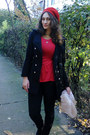 Red-meli-melo-hat-black-ebay-coat-black-stradivarius-jeans
