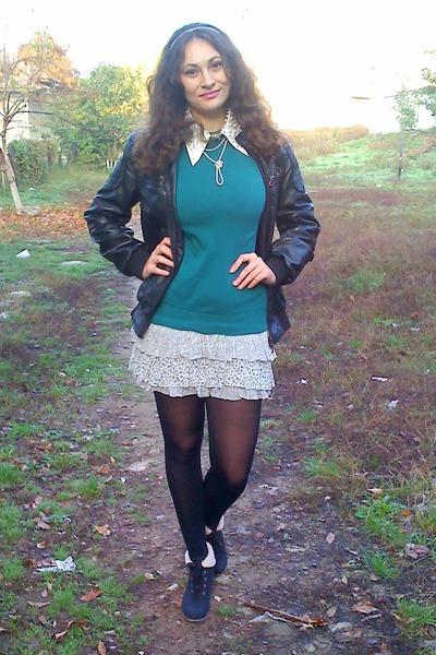 black random brand jacket - black miss alina boots - silver Bershka dress