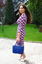 white Outerinner pumps - ruby red tartan print Boohoo dress - blue Tidestore bag