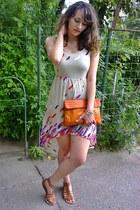orange thrifted bag - aquamarine chictopia prize threadsence dress