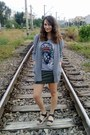Heather-gray-romwe-cardigan-silver-indian-print-oasap-t-shirt