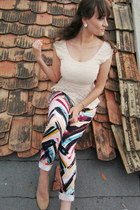 ivory lace peplum DivaNy top - nude Deichmann shoes - aquamarine H&M jeans