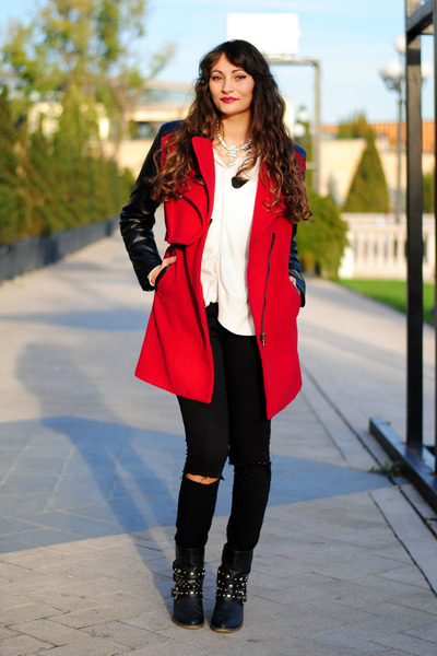 black ShoeZone boots - ruby red romwe coat - black knee ripped c&a jeans