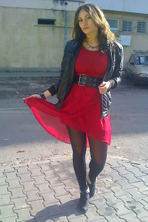 black miss alina boots - ruby red Stradivarius dress - black random brand jacket