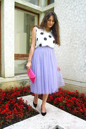 light purple tulle midi PERSUNMALL skirt - hot pink clutch Ebay bag