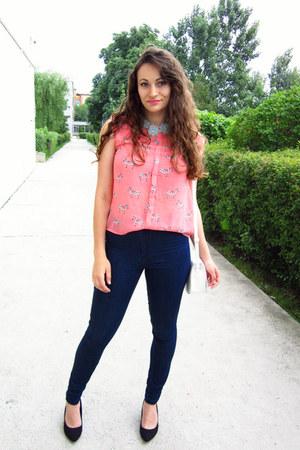 navy New Yorker jeans - bubble gum zebra print romwe blouse