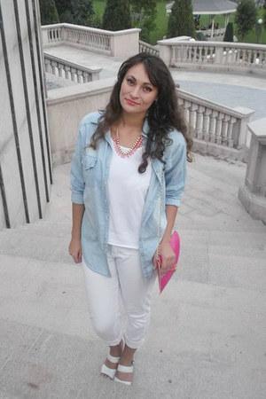 white white Pimkie jeans - light blue romwe shirt - hot pink Ebay bag