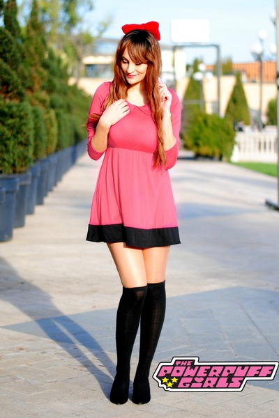 pink random brand dress - black knee high socks Ebay socks