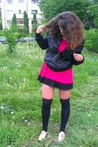 hot pink Ebay dress - beige Oxford shoes - black random brand jacket