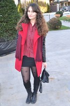 ruby red romwe coat - maroon Franco Callegari shirt - black romwe tights