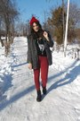 Red-clockhouse-hat-ruby-red-bershka-jeans-silver-romwe-cardigan
