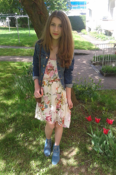 jeans jacket - blue boots - flowers Only dress - brown tie bag