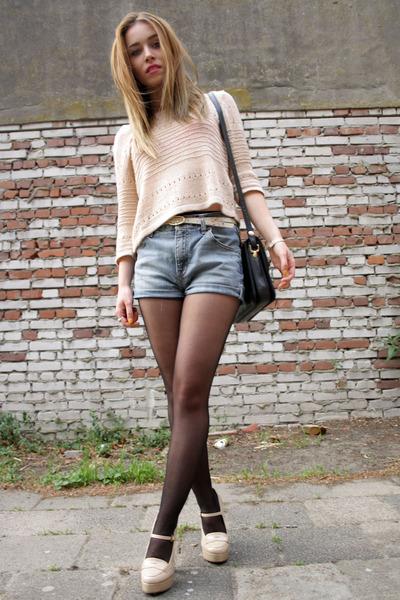 Forever21 heels - H&M shirt - vintage bag - vintage shorts