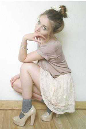 Forever 21 heels - nude Primark shirt - H&M skirt