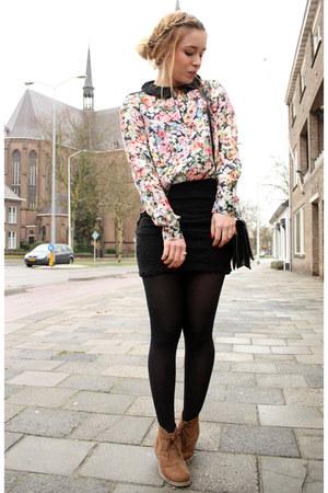 Zara blouse - vintage bag - vintage skirt
