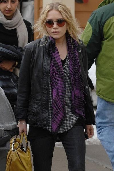 navy jeans - black jacket - white shirt - purple scarf - yellow bag - silver bra