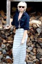 light blue maxi stripped H&M skirt
