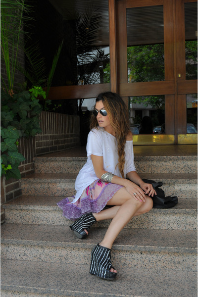 black Zara shoes - floral print Stradivarius dress - white H&M t-shirt