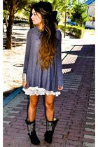 black ASH boots - white Topshopop dress - gray Topshop cardigan