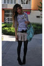Gold-bel-air-dress-zara-t-shirt-blue-balenciaga-purse-black-pura-lopez-sho