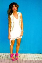 white Topshop dress - pink Miss Sixty shoes - Manoush bag - gold papaya vest