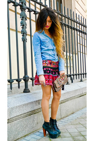 denim H&amp;M shirt - lita Jeffrey Campbell shoes - Accesorize purse