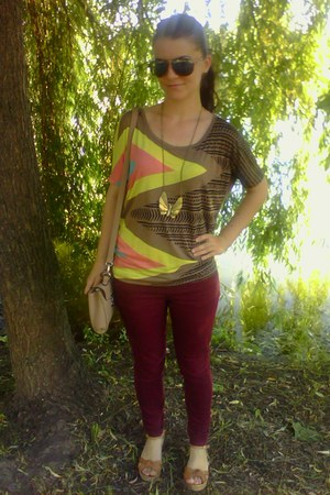 Bershka blouse - brick red new look jeans - beige meli melo purse