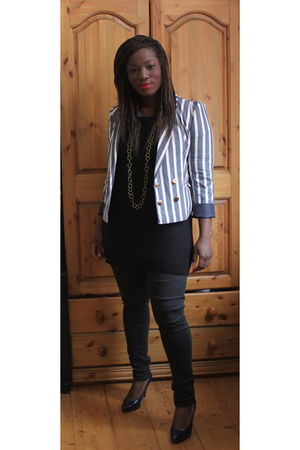 gray H&M blazer - black Topshop pants - gold Selfridges accessories - blue Kurt