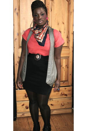 red scarf - beige - black skirt - black belt