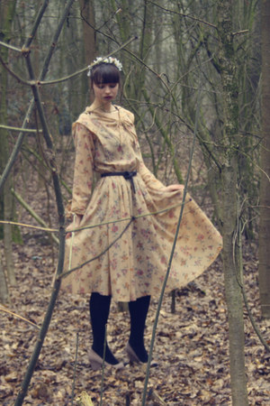nude long dress vintage dress - black tights H&M tights - dark brown belt vintag