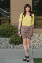 tulip drape Sugarlips skirt - yellow JCrew top