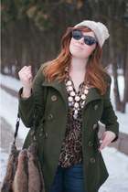 military NY and Company coat - knit pom Forever 21 hat