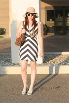 ann taylor necklace - chevron Opitz dress - beige floppy H&M hat