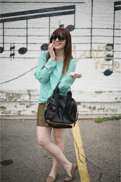 gold Len skirt - mint chiffon cliche shirt - studded Len bag