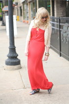 lace Charlotte Russe cardigan - red-orange maxi Forever 21 dress