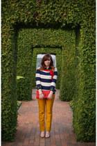 plaid chicnova shirt - striped Joules sweater - yellow Loft pants