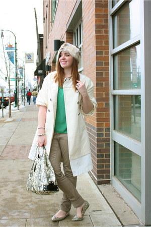 faux fur American Eagle hat - cream BCBG coat - sequined collar jolie moi top
