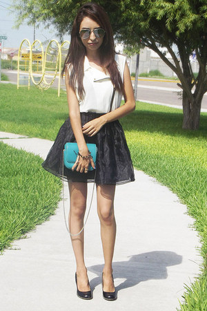 black Chicwish skirt - turquoise blue Zara bag - white Cozbest blouse