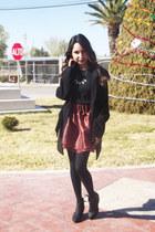 brick red chicnova skirt - black Bershka boots - crimson Zara top