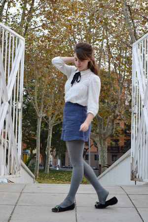 white Zara blouse - heather gray tights - blue H&M shorts