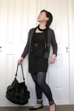 black crossroads dress - gray p&co cardigan - black Sportsgirl scarf - black Spo