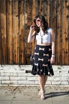 Anthropologie skirt - Anine Bing jacket - Aquazurra heels - Topshop top