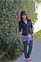 blazer - jeans - scarf - bag - pumps