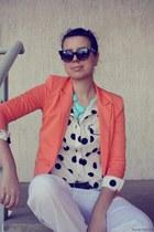 peach Xykoo blazer - polka dots PERSUNMALL shirt - beige Zara pants