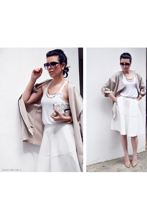 beige oversized Sheinside coat - white OASAP skirt