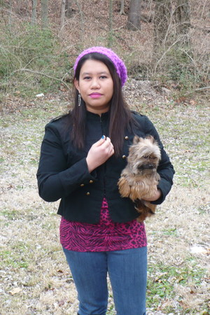 black xhiliration jacket - amethyst knitted Forever21 hat - magenta rue21 blouse
