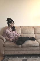 black gift shoes - black asos hat - maroon c&a blouse - black Primark stockings